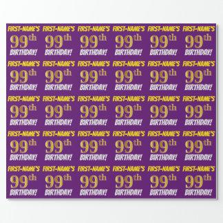 """紫色、のどまたは模造金ゴールド、""""第99誕生日"""" ラッピングペーパー"""