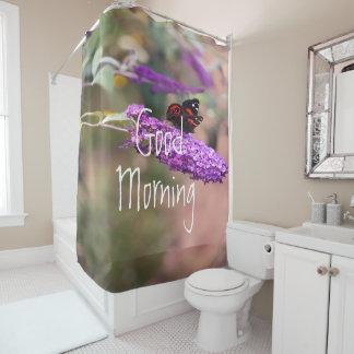 紫色 の黒 の赤い蝶写真 シャワーカーテン