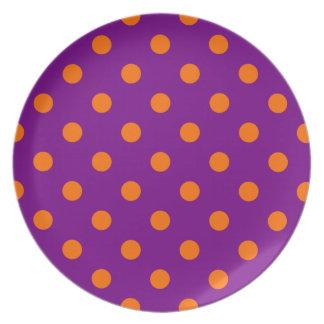 紫色|オレンジ|ポーク点 お皿