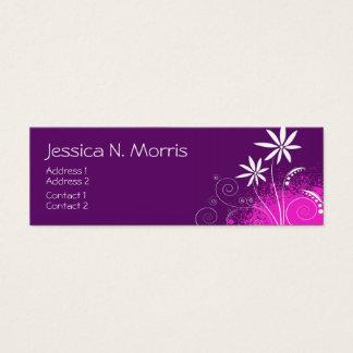 紫色、ピンクおよび白い花 スキニー名刺