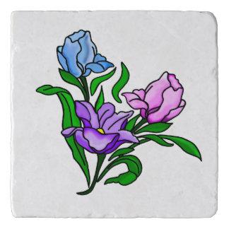 紫色、ピンクおよび青い花 トリベット