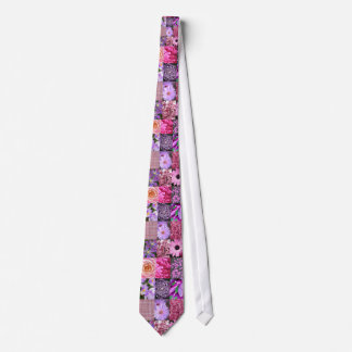 紫色/ピンクの写真のコラージュ ネクタイ