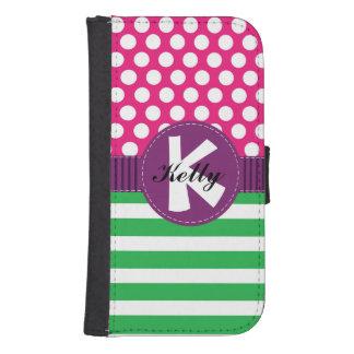 紫色、ピンク及び緑の点およびストライプなウォレットケース 手帳型 GALAXY S4ケース