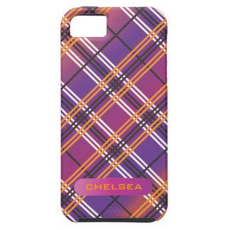 紫色、マゼンタ及びオレンジ格子縞の電話箱 iPhone 5 Case-Mate ケース