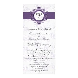 紫色|モノグラム|結婚|プログラム オリジナルラックカード
