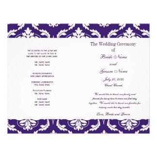 紫色|ヴィンテージ|ダマスク織|結婚|プログラム パーソナライズチラシ広告