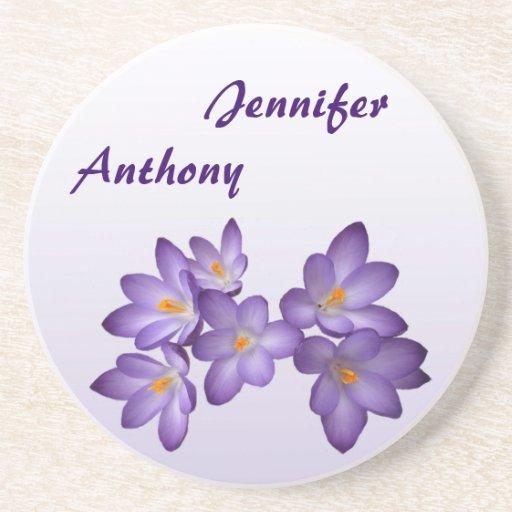 紫色|春|花柄|結婚|コースター