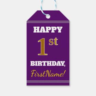 紫色、模造のな金ゴールドの第1誕生日 + 名前をカスタムする ギフトタグ