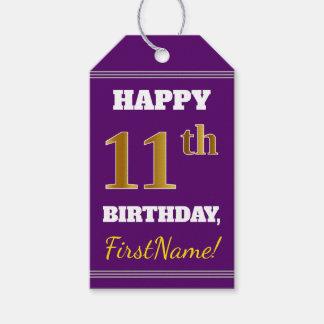 紫色、模造のな金ゴールドの第11誕生日 + 名前をカスタムする ギフトタグ
