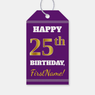 紫色、模造のな金ゴールドの第25誕生日 + 名前をカスタムする ギフトタグ