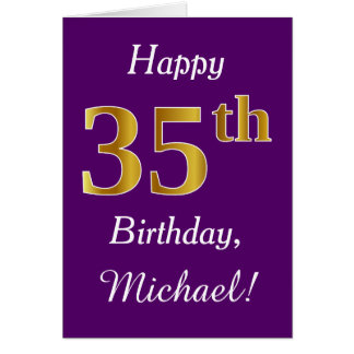 紫色、模造のな金ゴールドの第35誕生日 + 名前をカスタムする カード