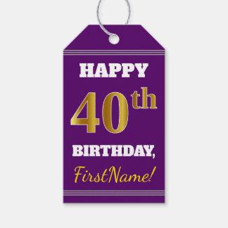 紫色、模造のな金ゴールドの第40誕生日 + 名前をカスタムする ギフトタグ