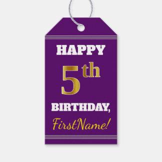 紫色、模造のな金ゴールドの第5誕生日 + 名前をカスタムする ギフトタグ