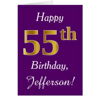 紫色、模造のな金ゴールドの第55誕生日 + 名前をカスタムする カード