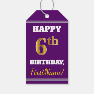 紫色、模造のな金ゴールドの第6誕生日 + 名前をカスタムする ギフトタグ