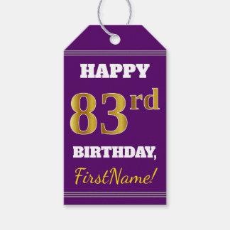 紫色、模造のな金ゴールドの第83誕生日 + 名前をカスタムする ギフトタグ