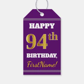 紫色、模造のな金ゴールドの第94誕生日 + 名前をカスタムする ギフトタグ