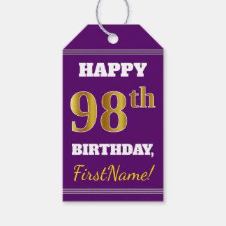 紫色、模造のな金ゴールドの第98誕生日 + 名前をカスタムする ギフトタグ