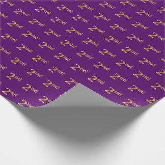 紫色、模造のな金ゴールド第2の(二番目に)イベント ラッピングペーパー