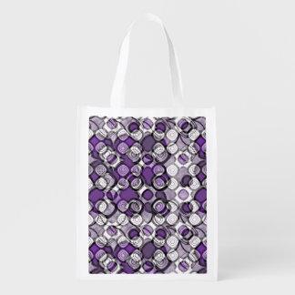 紫色、灰色および白の抽象的で黒い円 エコバッグ