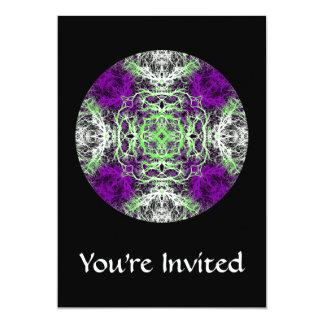紫色、白黒ライムグリーンのパターン。 カード
