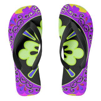 紫色、緑およびブラックプレートパターン ビーチサンダル