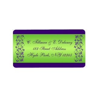 紫色、緑の花の結婚式の宛名ラベル2 宛名ラベル