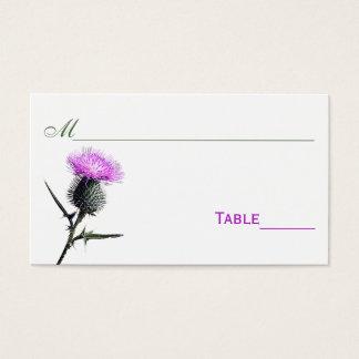 紫色、緑、白いアザミの花の座席表 名刺