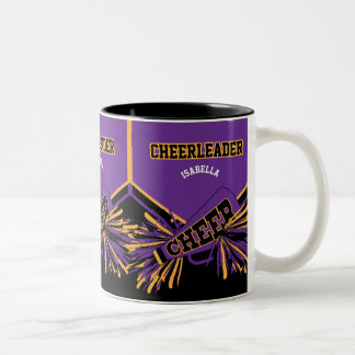 紫色、金ゴールドおよび黒のチアリーダー ツートーンマグカップ