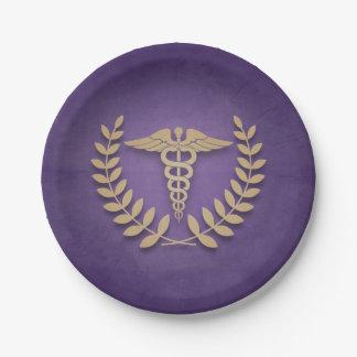 紫色+金ゴールドのケリュケイオンの医学の記号はPartyを博士 ペーパープレート