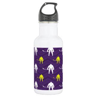 紫色、金ゴールドの黄色、白、アイスホッケー、シェブロン ウォーターボトル