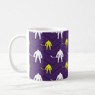 紫色、金ゴールドの黄色、白、アイスホッケー、シェブロン コーヒーマグカップ