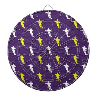 紫色、金ゴールドの黄色、白、サッカーの選手シェブロン ダーツボード