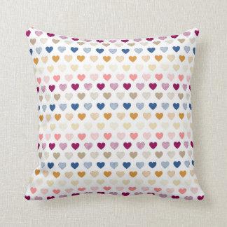 紫色、金ゴールド及び青いハートの枕 クッション