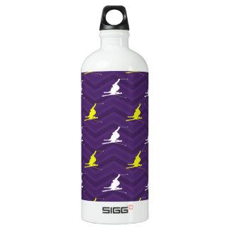 紫色、金黄色、白、雪のスキーシェブロン ウォーターボトル