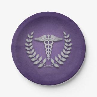 紫色 + 銀製のケリュケイオンの医者パーティ ペーパープレート