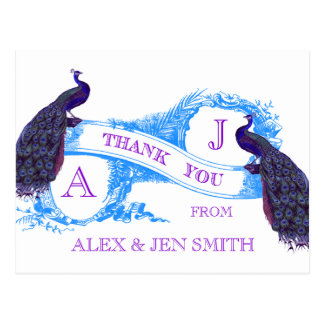 紫色、青の孔雀の結婚式は感謝していしています ポストカード