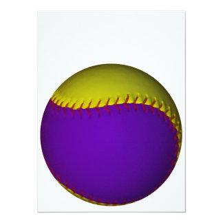 紫色|黄色|野球 14 X 19.1 インビテーションカード