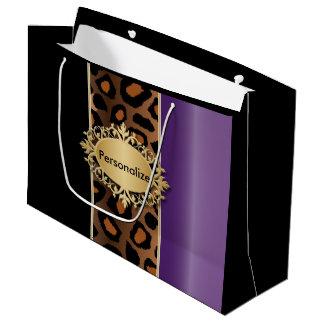 紫色、黒およびジャガーのプリント ラージペーパーバッグ