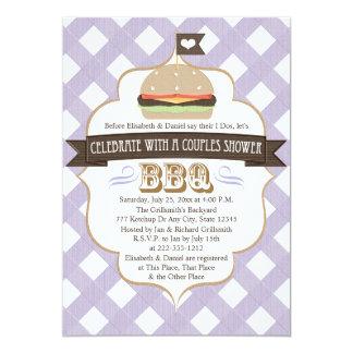 紫色BBQはウェディングシャワーの招待状をつなぎます カード