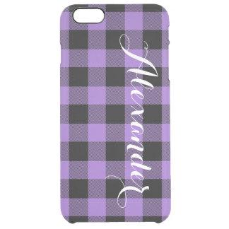 紫色Blkのバッファローの点検の格子縞の名前のモノグラムNL クリア iPhone 6 Plusケース