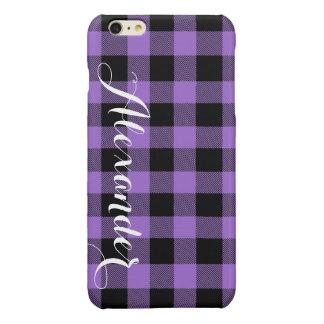 紫色Blkのバッファローの点検の格子縞の名前のモノグラムNL 光沢iPhone 6 Plusケース