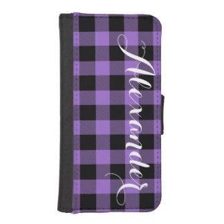紫色Blkのバッファローの点検の格子縞の名前のモノグラムNL iPhoneSE/5/5sウォレットケース