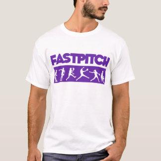 紫色Fastpitchのストリップ Tシャツ