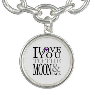 紫色I愛月および背部への チャームブレスレット