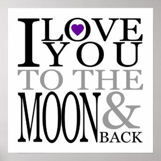 紫色I愛月および背部への ポスター