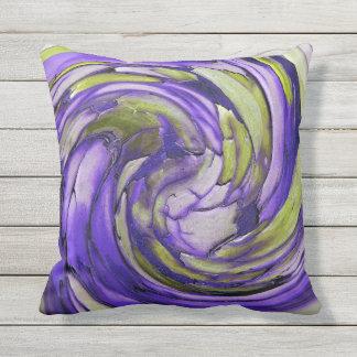 紫色Nのライムの抽象美術の屋外の枕 クッション