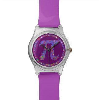 紫色Piの記号の滴りの芸術 腕時計