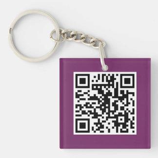 紫色QRコードカスタムなキーホルダー キーホルダー