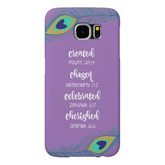 紫色w/Peacockは断言の聖なる書物、経典に羽をつけます Samsung Galaxy S6 ケース